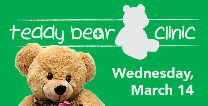 Text: Teddy beat clinic – Wednesday, March 14