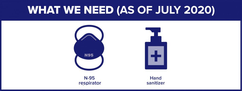 What we need (as of July 2020): N95 respirator and hand sanitizer
