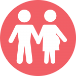 Icon: pregnant woman holding partner's hand
