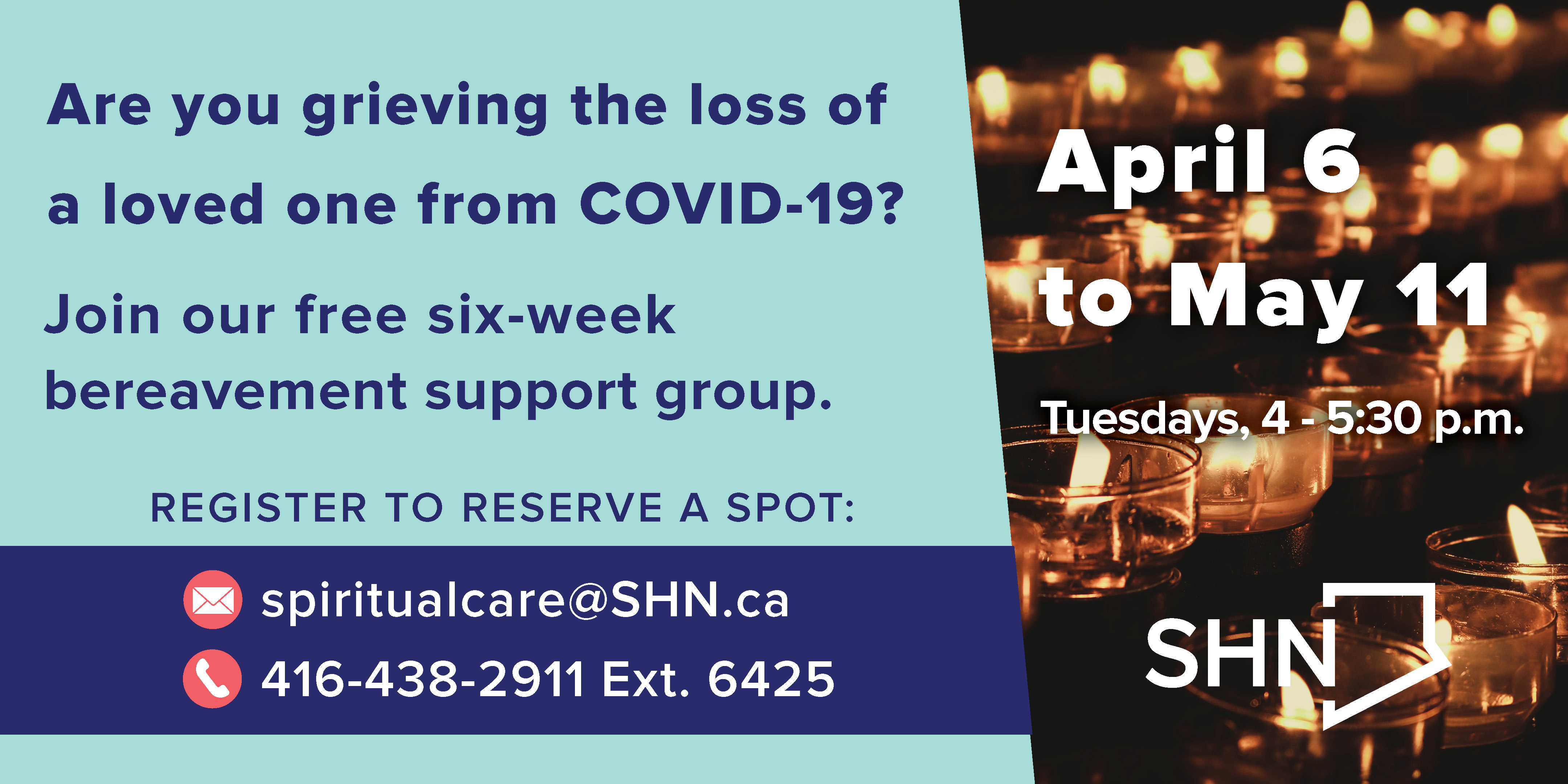 Six week bereavement support group for those who have lost a loved one from COVID-19.