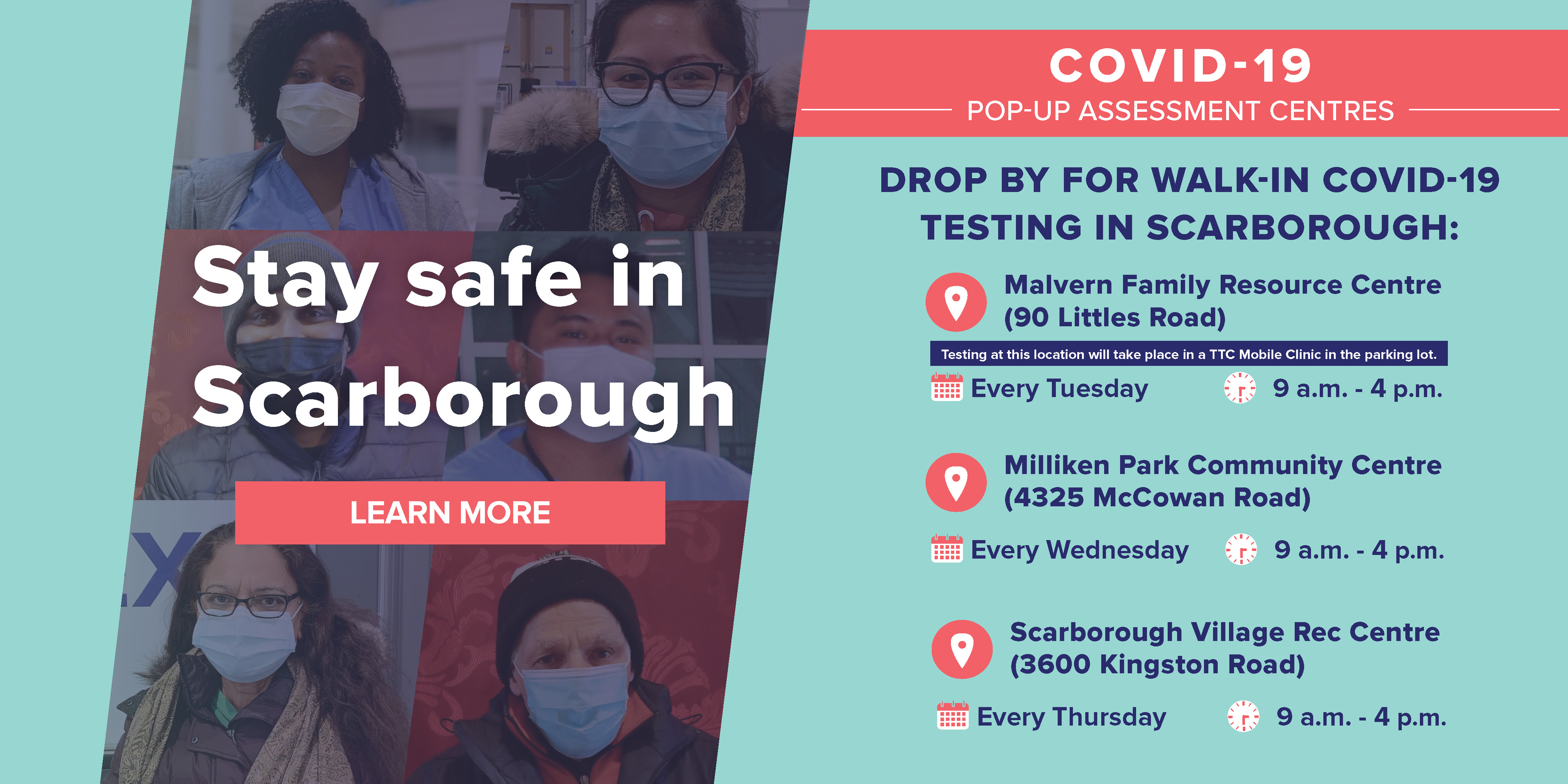 Walk-in COVID-19 testing locations in Scarborough